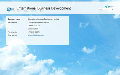 Screenshot of Contact Page ibdevelopment.eu - Contact us - captured Oct. 6, 2014