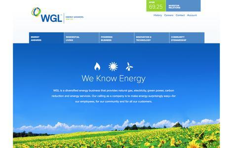 Screenshot of Home Page wgl.com - WGL - captured April 10, 2016