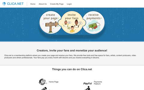 Screenshot of Home Page clica.net - Membership platform for fans, artists and independent producers | Clica.net - captured Oct. 19, 2018