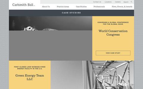 Screenshot of Case Studies Page carlsmith.com - Case Studies | Carlsmith Ball - captured July 15, 2017