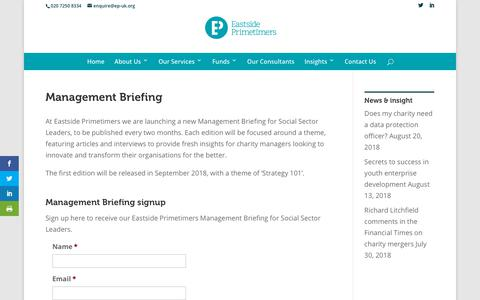 Screenshot of Signup Page ep-uk.org - Management Briefing | Eastside Primetimers - captured Sept. 26, 2018