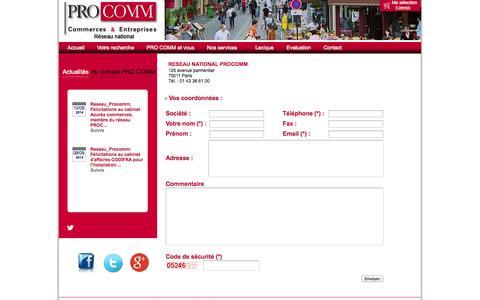 Screenshot of Contact Page procomm.fr - Contactez Procomm paris, Fonds de commerce et locaux à vendre - captured Oct. 1, 2014