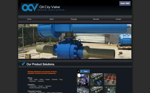 Screenshot of Products Page oilcityvalve.com - Products | Oil City Valve- Valve Distribution and Automation- Houston TX- - captured Oct. 27, 2014