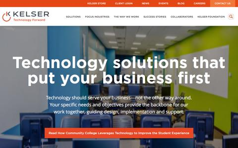 Screenshot of Home Page kelsercorp.com - Managed IT Solutions | Network Security CT & MA | Kelser Corp - captured Feb. 11, 2016
