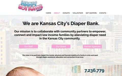Screenshot of About Page happybottoms.org - About Kansas City Diaper Bank Happy Bottoms - captured July 16, 2018
