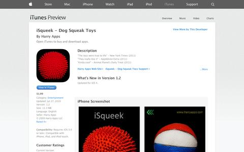 Screenshot of iOS App Page apple.com - iSqueek - Dog Squeak Toys on the App Store on iTunes - captured Oct. 30, 2014