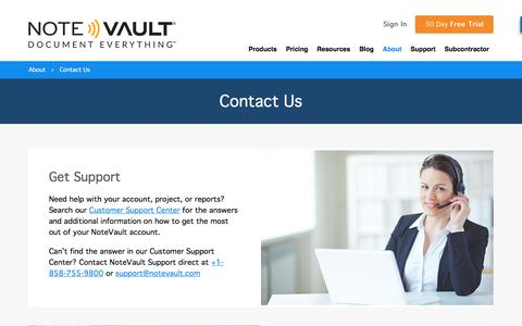 Screenshot of Contact Page notevault.com - Contact Us | Construction Technology | NoteVault - captured Dec. 6, 2016