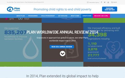 Screenshot of Home Page plan.ie - Plan Ireland | Promoting child rights to end child poverty - captured Jan. 23, 2015