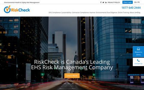 Screenshot of Home Page riskcheckinc.com - Canada's Leading EHS Risk Management Company | RiskCheck - captured Oct. 20, 2018