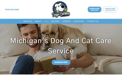 Screenshot of FAQ Page doggielatchkey.com - Dog Care | Cat Care | Doggie Latchkey - captured Oct. 9, 2018