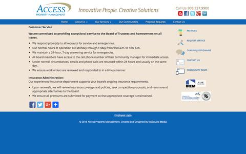 Screenshot of Support Page accesspm.com - Customer Service | Access Property Management - captured Feb. 5, 2016