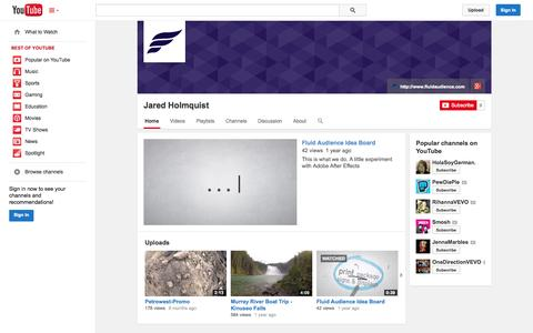 Screenshot of YouTube Page youtube.com - Jared Holmquist  - YouTube - captured Oct. 23, 2014