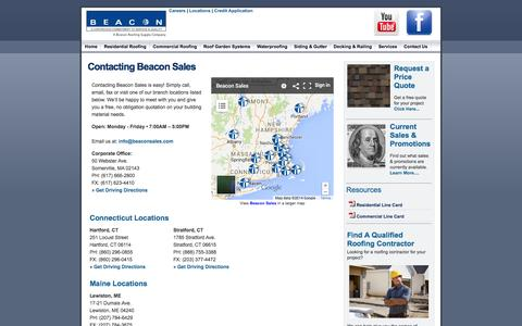 Screenshot of Contact Page Locations Page beaconsales.com - Beacon Sales: New England's Leading Distributor Of Residential Roofing, Commercial Roofing, Siding, Skylights, Decking, - captured Oct. 23, 2014