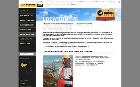 Screenshot of Services Page jadelmas.com - Location - JA Delmas - Votre Concessionnaire CAT pour l'Afrique - captured May 17, 2017