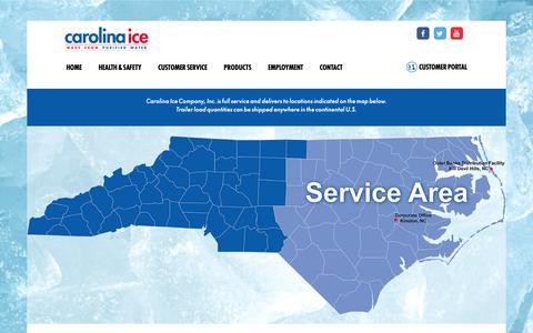 Screenshot of Support Page carolinaice.com - Customer Service - Carolina Ice Company : Carolina Ice Company - captured Sept. 27, 2018