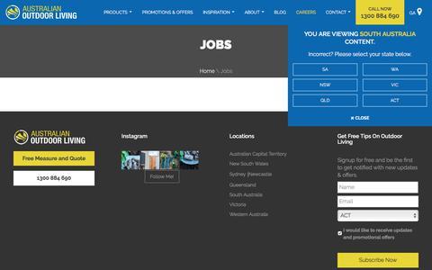 Screenshot of Jobs Page australianoutdoorliving.com.au - Careers at Australian Outdoor Living - captured July 31, 2018