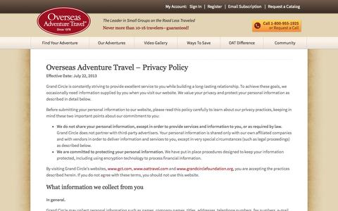 Screenshot of Privacy Page oattravel.com - Privacy Policy | Overseas Adventure Travel - captured Sept. 19, 2014