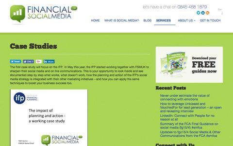 Screenshot of Case Studies Page financial-socialmedia.co.uk - Case Studies - FSM UK - captured Aug. 20, 2017