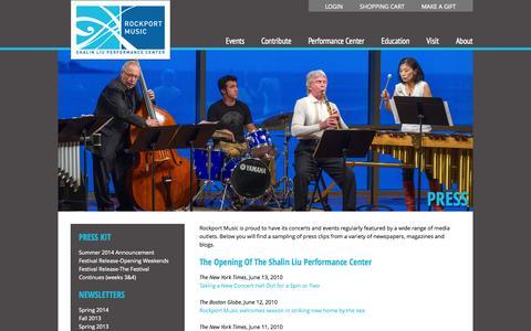 Screenshot of Press Page rockportmusic.org - Rockport Music   –  Press - captured Oct. 26, 2014
