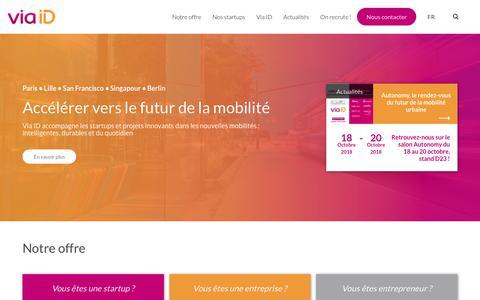 Screenshot of Home Page via-id.com - Via ID - Accélère les startups dédiées aux nouvelles mobilités. - captured Oct. 20, 2018