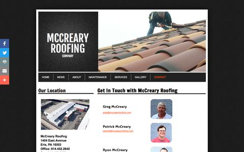 Screenshot of Privacy Page Contact Page mccrearyroofing.com - Mccreary Roofing in Erie, Pa : Contact - captured July 6, 2017