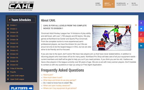 Screenshot of About Page cincyahl.com - CAHL - About the CAHL - captured Sept. 28, 2018