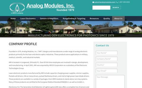 Screenshot of About Page analogmodules.com - Analog Modules, Inc. | Specialists in Analog and Laser Electronics | Company Profile | AMI - captured Dec. 3, 2016