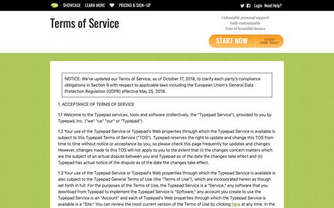 Screenshot of Terms Page typepad.com - Terms of Service   Typepad - captured March 26, 2019