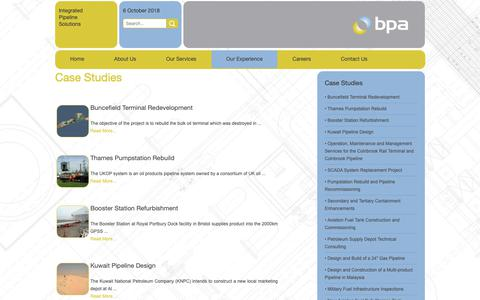 Screenshot of Case Studies Page bpa.co.uk - BPA's Case Studies - captured Oct. 6, 2018
