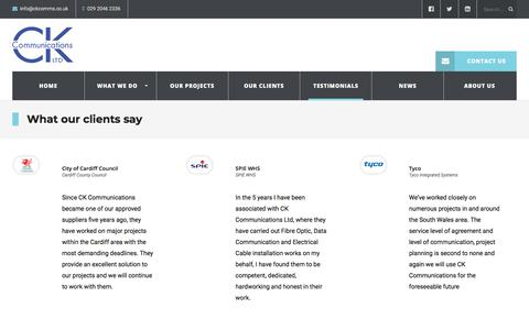 Screenshot of Testimonials Page ckcomms.co.uk - What our clients say | CK Communications - captured Sept. 25, 2018
