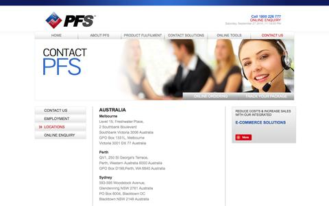 Screenshot of Locations Page pfs.com.au - Locations | PFS Group - captured Sept. 27, 2014