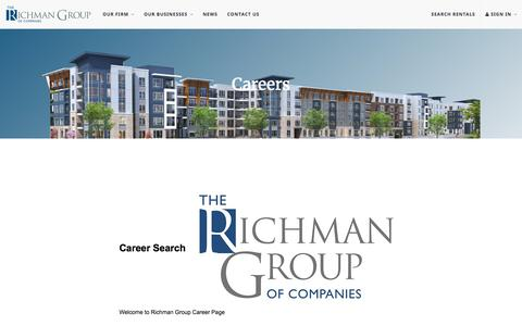 Screenshot of Jobs Page therichmangroup.com - Careers   The Richman Group - captured Aug. 14, 2016
