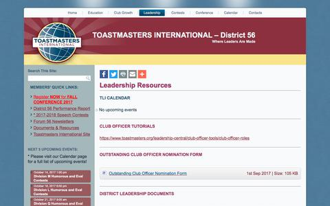Screenshot of Team Page tmd56.org - Leadership | TOASTMASTERS INTERNATIONAL – District 56 - captured Oct. 12, 2017
