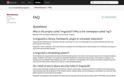 Screenshot of FAQ Page angularjs.org - AngularJS - captured Oct. 29, 2014
