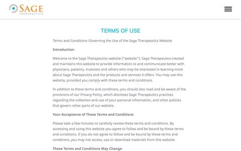 Screenshot of Terms Page sagerx.com - Terms of Use | Sage Therapeutics - captured Nov. 12, 2018