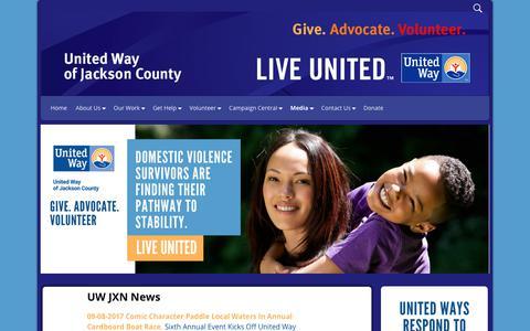 Screenshot of Press Page uwjackson.org - UW JXN News United Way of Jackson County | United Way of Jackson County - captured Oct. 19, 2017