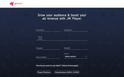 Screenshot of Contact Page jwplayer.com - Contact Us | JW Player - captured Sept. 16, 2019