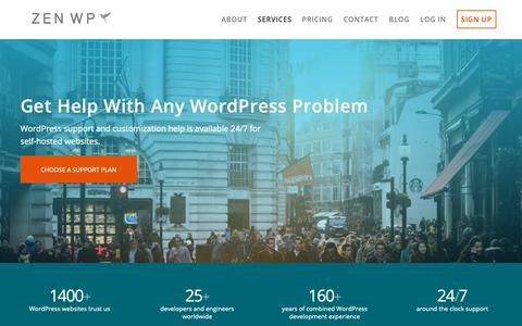 Screenshot of Services Page zenwp.co - WordPress Support Services - Get WordPress Help Now from Zen WP - captured Nov. 2, 2018