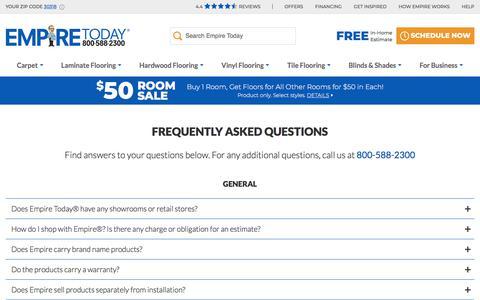 Screenshot of FAQ Page empiretoday.com - FAQs | Empire Today - captured Aug. 14, 2019