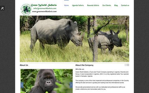 Screenshot of About Page greenworldsafaris.com - Uganda Safaris, Gorilla Safaris, Vacation Safaris, Holiday Tours and Car Rentals - Green World Safaris - captured Dec. 15, 2015