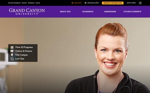 Screenshot of Home Page gcu.edu - Private Christian University | Grand Canyon University – Phoenix AZ - captured May 21, 2018
