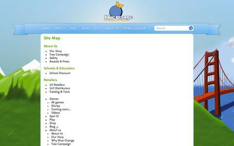 Screenshot of Site Map Page blueorangegames.com - Site Map - captured Sept. 22, 2014