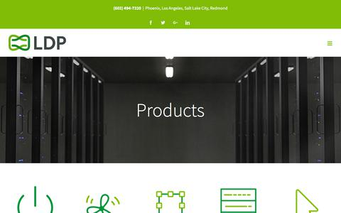 Screenshot of Products Page ldpassociates.com - Quality Data Center Products by LDP | Power Supply & Data Center Software - captured July 14, 2018