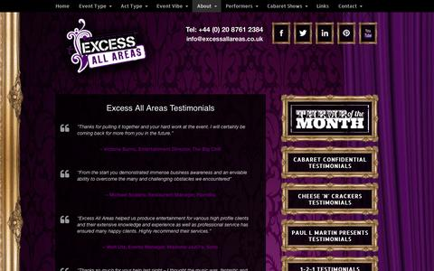Screenshot of Testimonials Page excessallareas.co.uk - Cabaret Testimonials | Show Feedback | Cabaret Reviews - captured Sept. 30, 2014