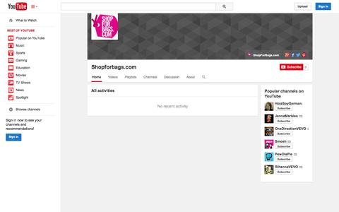 Screenshot of YouTube Page youtube.com - Shopforbags.com  - YouTube - captured Oct. 22, 2014