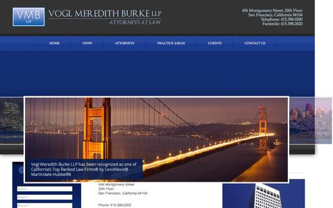 Screenshot of Contact Page vmbllp.com - Contact Us | Call Now 415.398.0200 | Vogl Meredith Burke LLP: Attorneys at law - captured Feb. 17, 2016