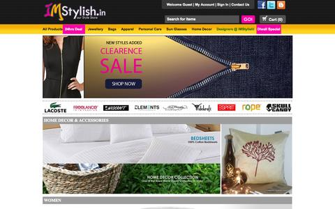 Screenshot of Home Page imstylish.in - Online Shopping India with best deals on stylish products, sun glasses, handbags, leather belts, jewelry, watches. - captured Sept. 30, 2014