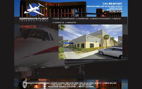 Screenshot of Contact Page cfi-inc.com - Contact Us - Corporate Flight International Inc. - captured Oct. 3, 2014
