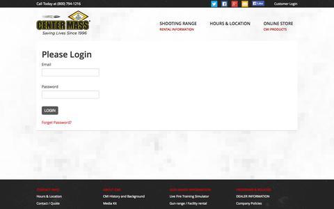 Screenshot of Login Page centermassinc.com - Please Login | Center Mass, Inc. - captured Sept. 29, 2014