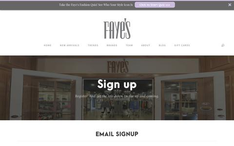 Screenshot of Signup Page fayes123.com - Women's Designer Clothes Milwaukee | Email Sign-Up - captured Oct. 13, 2017